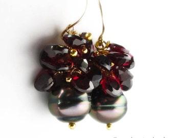 18K Tahitian Black Pearl Earrings