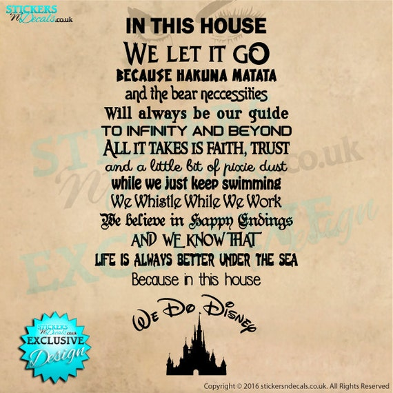 Wall Art Quotes Disney : We do disney quotes vinyl wall art decal