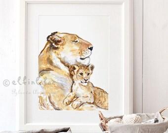 Lion Nursery Print, Lion wall art,Baby Lion Art Print,Nursery Décor,Lion Nursery,Mom and Baby,Safari Nursery Art,Jungle Nursery