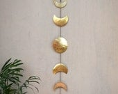 Moon Phases Wall Hanging Brass Mobile Wall Decor - Moon Child - Hammered Metal Wall Art