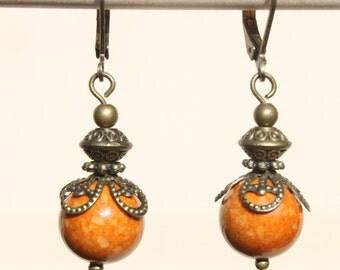 Brown Earrings Dangle Earrings Victorian Earrings Boho Chic Earrings Jewelry Small Earrings Gift Ideas gift for her Fashion