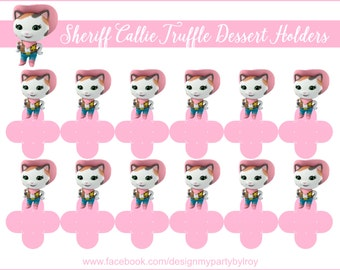 SHERIFF CALLIE, SHERIFF Party, Sheriff Candy Holders, Sheriff Callie Cupcake Toppers, Sheriff Callie Chocolate Toppers, Sheriff, Forminhas.