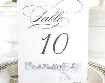 San Jose Skyline Table Numbers (1-10)