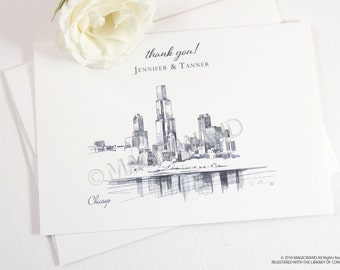 Chicago Skyline Wedding Thank You Cards, Personal Note Cards, Bridal Shower Thank you Cards (set of 25 cards)