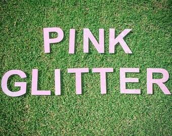 Pink glitter word banner - make your own custom banner