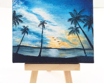 Caribbean Beach Acrylic Mini Canvas Painting Sunset Miniature Original Painting