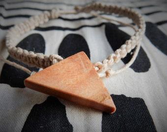 Unique WoodenOnion Hemp Bracelet with long Yew Triangle handmade wood bead