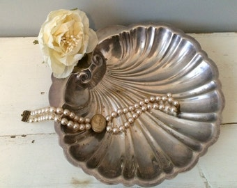 Vintage Silver Metal Scalloped Tray 1950s