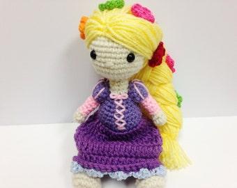 "Rapunzel Inspired Tangled Crochet Doll / Fairy tale Rapunzel Doll 9"""