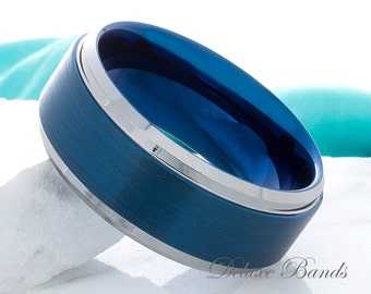 Blue Tungsten Ring Two Tone Blue Wedding Ring Tungsten Anniversary Band Mens Blue Band Womens Blue Ring Tungsten Promise Ring Free Engraving