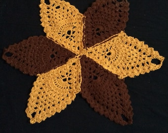 Vintage 1960's Crocheted Dollie Table Decor, Home Decor, Yellow and Brown, Handmade
