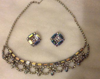 Vintage aurora borealis rhinestone necklace and earrings