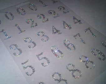 CraftbuddyUS 30 x Stick on AB Clear Diamante Numbers Self Adhesive Gems Crystals 123 Rhinestones