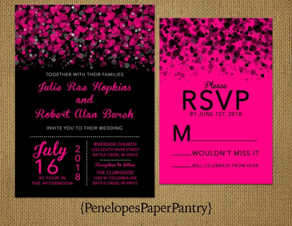 Hot Pink and Black Wedding InvitationsModern