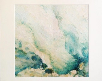 Original painting El bano de la nusta abstract landscape ink and collage on canvas