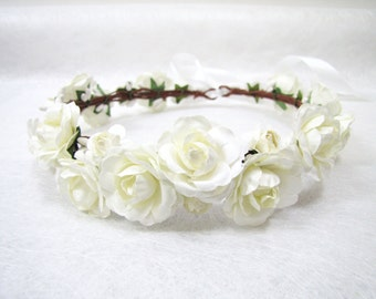 Flower Crown, Ivory Flower Headband, Floral Head Wreath, Wedding Headband, Bridesmaid Floral Crown, Flower Girls Floral Crown