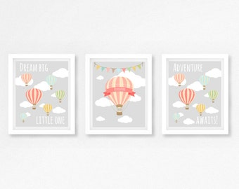 Hot Air Balloon Nursery Wall Art, Hot Air Balloon Print, Pink and Grey Nursery, Baby Girl Nursery Decor, Pink Baby Shower Gift, Baby Gift