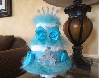 Prince diaper cake/Turquoise and silver prince diaper cake/Prince baby shower centerpiece/Boy baby shower centerpiece