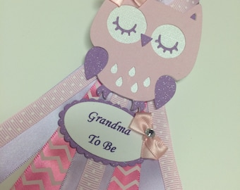 Grandma to be Owl baby shower corsage/Light pink and Lavender Owl corsage/Mommy to be corsage/