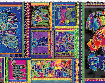 Laurel Burch Dogs and Doggies Panel Clothworks Quilters Cotton Fabric