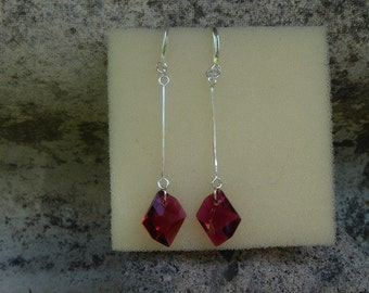 Sparkling Silver earrings with Ruby Red Crystal!