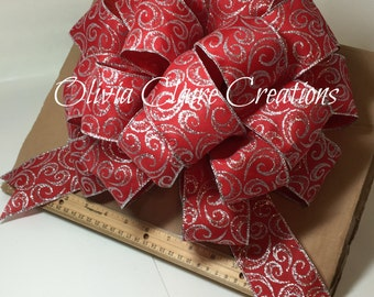 Holiday Bow, Christmas Bow, Gift Bow, Gift Basket, Christmas Tree Topper, Red with Silver Swirl Pattern. Bow for Wreath or Holiday Decor