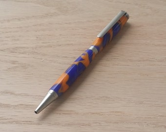 Orange/Blue Swirl Acrylic Pen-Olentangy colors