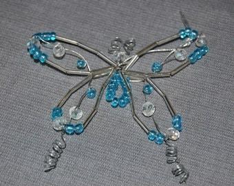 Butterfly beaded ornament ~ Carolina Blue ~ set of 2