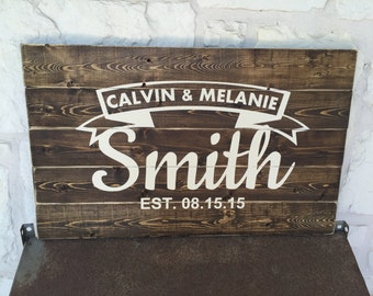 """Large Rustic Family Last Name with Est Date Custom Wood Sign 28"""" x 17.25"""""""