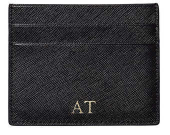 PERSONALISED Genuine Saffiano Leather Card Holder Wallet in Black - FREE Monogramming - Same day shipping in Australia