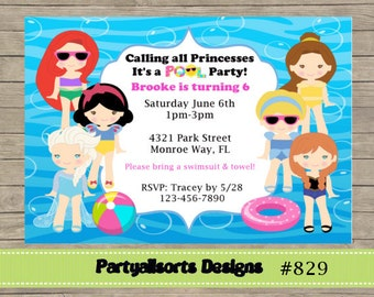 346 DIY - Pool Party/ Princess Pool Party Girls Invitations