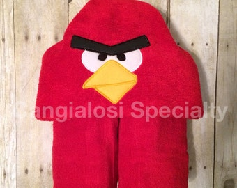 Angry Birds Angriest Bird Inspired Hooded Towel/Baby/Kids/Adult/Baby Shower/Birthday/Christmas/Gift/Bath/Pool/Towel/Summer/Beach/Party/Favor