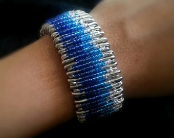 Chic Safety Pin Bracelet with Blue Beads