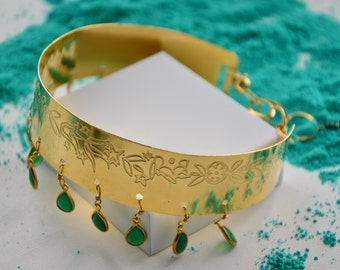 22K gold plated choker, green onyx teardrops and adjustable size