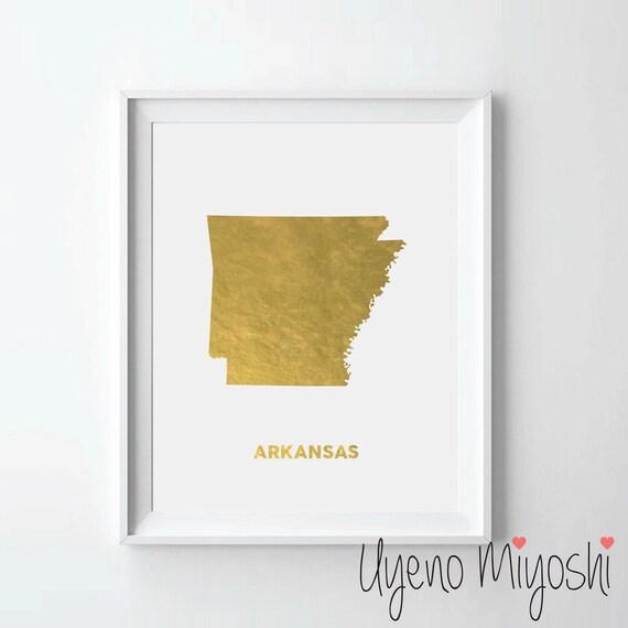 Arkansas Map Gold Foil Print Gold Print Usa State Map Print