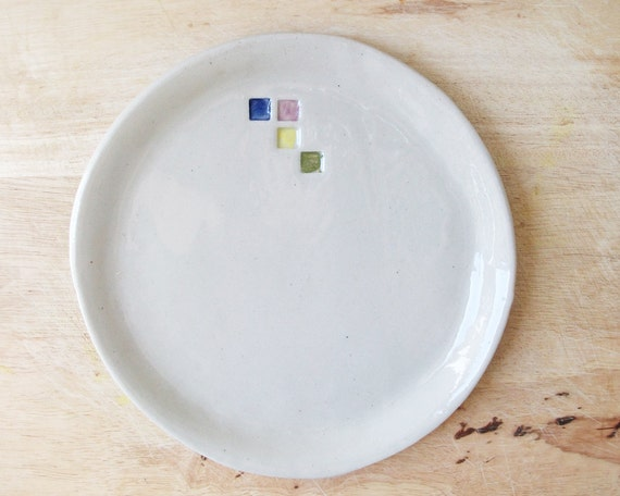 ceramic dinner plate white handmade pottery plate unique