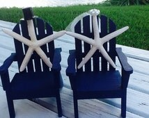 Beach Wedding Starfish Cake Toppers-Beach Chair Cake Toppers-Navy-Nautical cake topper -Bride and Groom Wedding Cake Toppers -mr and  Mrs -