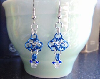 Bright and Blue Aluminum 4 in 1 Rosette Earrings with Glass Bead