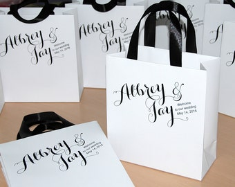 30 Welcome Bags with satin ribbon and names - Wedding gift Bags - Welcome to Our Wedding Custom Personalized Wedding Gift bag