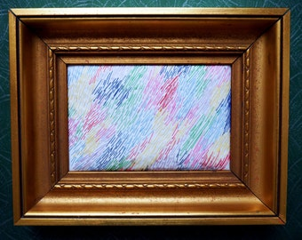 """Embroidery image mural """"abstract stained"""" within the framework of gold"""