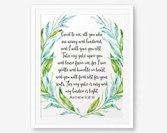 Bible Verse printable, Matthew 11:28-30, Christian wall art, Scripture Printable, nursery decor, home decor, wedding