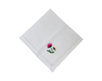 Embroidered napkin - vintage gummed cotton napkin with handmade flower embroidery