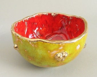 Handmade Ceramic Bowl Colorful Gold-Plated