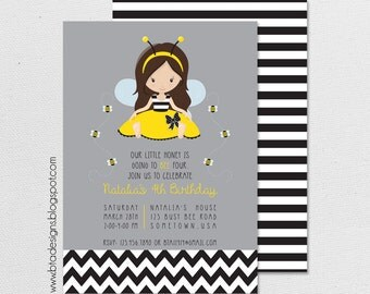 Our Little Honey Bee Birthday Party Invitation 1, Digital & Customizeable