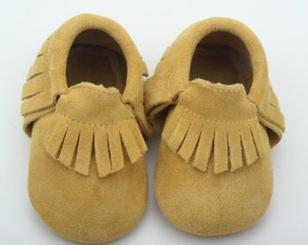 Genuine Leather Moccasins- Mustard Yellow Suede
