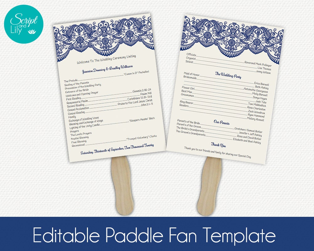Ivory navy blue lace paddle fan program template for Paddle fan template