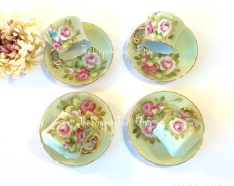 4pcs Lefton Green Heritage Rose Pink Demitasse Espresso Teacup and Saucer Duo Replacement Gifts for Her Tea Party Tableware Floral Flowers