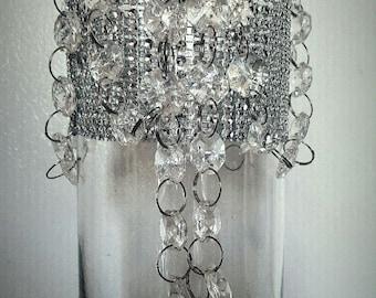 Rhinestone  and Diamond Chandalier Decor Vases Wedding Centerpiece Bridal - Set of 12!  Beautiful!