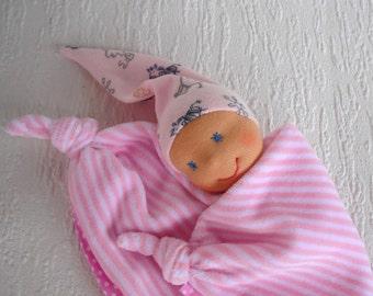 Waldorf inspired baby lovey for newborn girl, Security blanket in pink, Handmade baby shower gift for baby girl, First doll for little girl