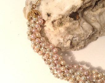 Vintage faux seed pearl choker pale pink green cream